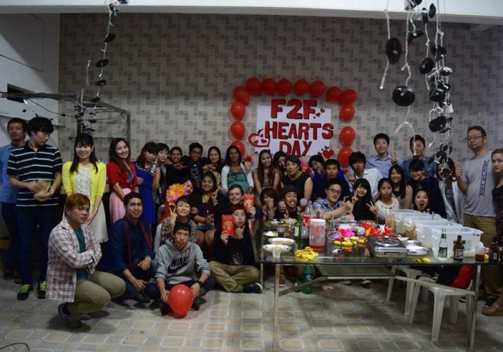 face to face english school valentine party